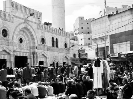 Friday prayers in downtown Amman